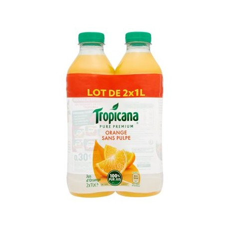 Jus d'orange Tropicane Sans pulple 2 x 1L