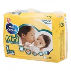 Couches bébé Mots d'Enfants Mini - T2 : 3/6kg - x35 changes