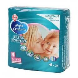 Couches bébé Mots d'Enfants -T4 Ultra confort - 7/18kg - x26